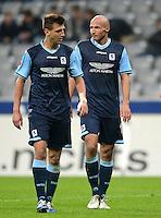 Fussball 2. Bundesliga:  Saison   2012/2013,    10. Spieltag  TSV 1860 Muenchen - FC Erzgebirge Aue  22.10.2012 Guillermo Vallori und Necat Ayguen (v. li., 1860 Muenchen)