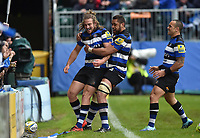 Max Clark of Bath Rugby is congratulated on his try by team-mates. Aviva Premiership match, between Bath Rugby and Gloucester Rugby on April 30, 2017 at the Recreation Ground in Bath, England. Photo by: Patrick Khachfe / Onside Images