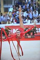 Anna Alyabyeva of Kazakhstan performs balance with ribbon during event finals  at 2010 Grand Prix Marbella at San Pedro Alcantara, Spain on May 16, 2010. Anna placed 6th AA at Marbella 2010. (Photo by Tom Theobald).