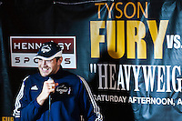 UK boxer Tyson Fury (2L) speaks during a press conference to promote his official IBF Heavyweight Voluntary Eliminator fight in New York. April 17, 2013. photo by Eduardo Munoz Alvarez / VIEWpress