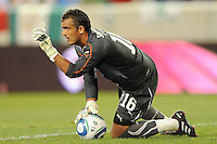 Sporting Clube de Portugal goalkeeper Tiago Ferreira (16) waves his finger after making a save during a Barclays New York Challenge match between Manchester City F. C. and Sporting Clube de Portugal (Sporting Lisbon) at Red Bull Arena in Harrison, NJ, on July 23, 2010.