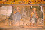 A 15th century fresco in the cloister of the Santa Maria delle Grazie Church in Gravedona, a town on Lake Como Italy