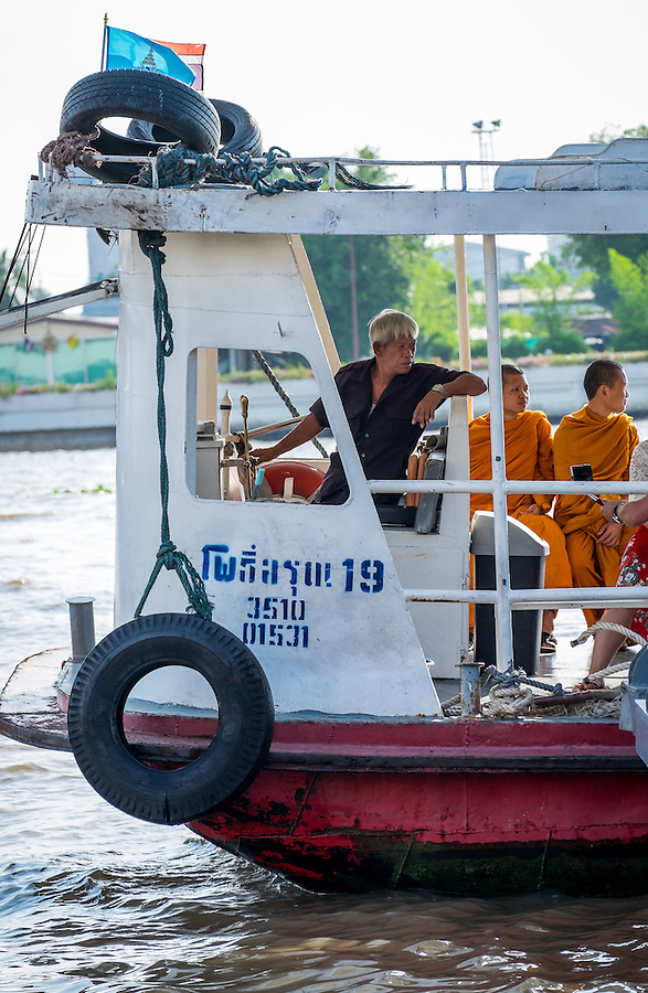 BANGKOK, THAILAND - CIRCA SEPTEMBER 2014: Typical ferry on the Chao Phraya River, Bangkok