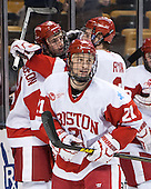 Robbie Baillargeon (BU - 19), Matt Lane (BU - 21), T.J. Ryan (BU - 3) - The Boston College Eagles defeated the Boston University Terriers 3-1 (EN) in their opening round game of the 2014 Beanpot on Monday, February 3, 2014, at TD Garden in Boston, Massachusetts.