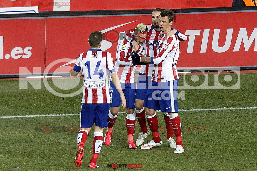 Atletico de Madrid's Gabi Fernandez, Antoine Griezmann, Mario Suarez and Mario Mandzukic celebrate during La Liga match.January 24,2015. (ALTERPHOTOS/Acero) /NortePhoto<br />
