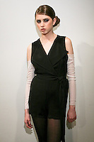 Frances wears an Ivy h. outfit, by Ivy Higa, for the Ivy h. Fall/Winter 2011 collection presentation, during New York Fashion Week Fall 2011.