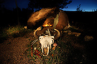 Dusk at the Sweat Lodge, Charly Juchler's Tipi Camp, Hermosa, Black Hills, South Dakota, USA
