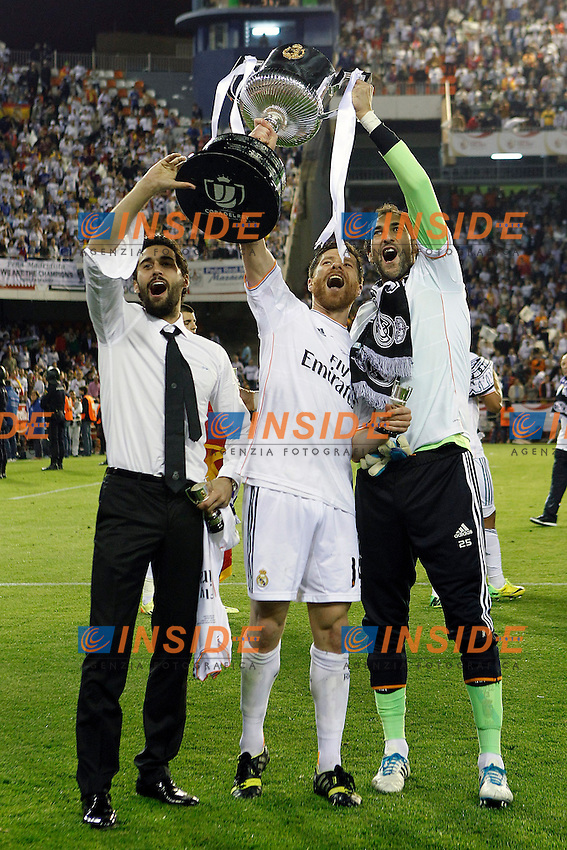 Real Madrid's Alvaro Arbeloa, Xabi Alonso and Diego Lopez celebrate the victory in the spanish KIng's Cup Final match.April 16,2014. (ALTERPHOTOS/Acero) <br /> Finale Coppa del Re<br /> Real Madrid Barcellona <br /> Foto Insidefoto