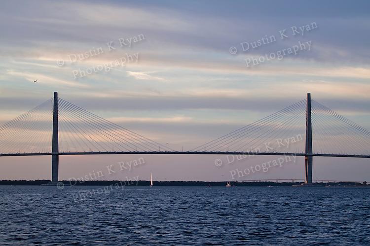 arthur ravenel jr bridge sunset pastel clouds