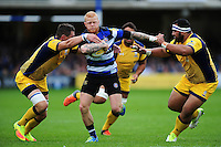Tom Homer of Bath Rugby takes on the Worcester Warriors defence. Aviva Premiership match, between Bath Rugby and Worcester Warriors on September 17, 2016 at the Recreation Ground in Bath, England. Photo by: Patrick Khachfe / Onside Images