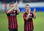 FC Luzern v St Johnstone...17.07.14  Europa League 2nd Round Qualifier<br /> Scott Brown and Chris Millar applaud the fans at full time<br /> Picture by Graeme Hart.<br /> Copyright Perthshire Picture Agency<br /> Tel: 01738 623350  Mobile: 07990 594431