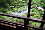 Photo shows  the Kakubuen garden as viewed from the 2nd floor  of the main building of the Honma Museum of Art in Sakata, Yamagata Prefecture, Japan, on July 06, 2012. Construction of the garden and reception room was started around 200 years ago, but the 2nd floor was added in 1920 in anticipation of visit from the then-emperor. Photographer: Robert Gilhooly