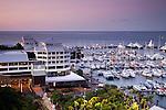 The Shangri-La Hotel and Marlin Marina at dusk.  Cairns, Queensland, Australia