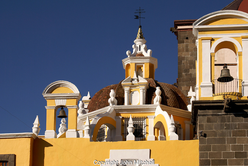 Architectural detail, cathedral or catedral  in the city of Puebla, Mexico. The historical center of Puebla is a UNESCO World Heritage Site..
