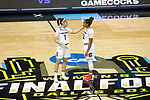 DALLAS, TX - APRIL 2: Bianca Cuevas-Moore #1 of the South Carolina Gamecocks and Araion Bradshaw #12 of the South Carolina Gamecocks speak to each other during the 2017 Women's Final Four at American Airlines Center on April 2, 2017 in Dallas, Texas. (Photo by Timothy Nwachukwu/NCAA Photos via Getty Images)