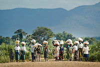 Villagers from the Luangwa Valley in Zambia set off on a long walk home with their 18kg rations of maize. For many, the round trip will be as far as 30km, with some of the women also carrying babies or young children.<br /> <br /> Luangwa Valley in Zambia