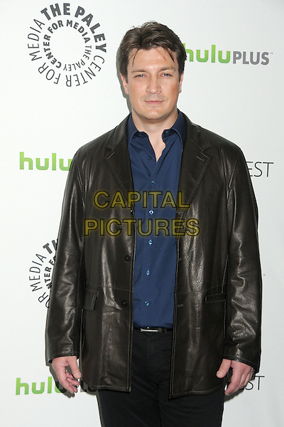 """Nathan Fillion.PaleyFest 2012 Presents """"Castle"""" held at The Saban Theatre, Beverly Hills, California, USA, 9th March 2012..half length jacket blue shirt black leather .CAP/ADM/BP.©Byron Purvis/AdMedia/Capital Pictures."""