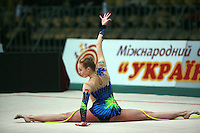 """Inna Zhukova of Belarus performs with rope at 2008 World Cup Kiev, """"Deriugina Cup"""" in Kiev, Ukraine on March 23, 2008."""