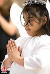 WATERBURY, CT- 06 JANUARY 2006-010607JS07-Kaysha Ginorio, 8, of Waterbury, played one of the angels during the annual Three Kings Day celebration Saturday at the Shekinah Christian Church in Waterbury. <br /> Jim Shannon/Republican-American