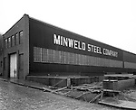Pittsburgh PA:  View of the foundation being built for the new addition to Minweld Steel's building - 1948.  Minweld Steel was located on the west end of Rt 51.  In the 1950s, Minweld Steel was steel fabricator in Pittsburgh during the 1940s and 1950s.