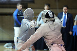 11 February 2017: Duke's Duncan De Caire (left) scores a hit on MIT's Benjamin Lin (right) in Saber. The Duke University Blue Devils hosted the Massachusetts Institute of Technology Engineers at Card Gym in Durham, North Carolina in a 2017 College Men's Fencing match. Duke won the dual match 19-8 overall, 7-2 Foil, 6-3 Epee, and 6-3 Saber.