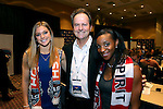 17 January 2014: University of North Carolina Tar Heels women's soccer head coach Anson Dorrance (center) poses with two of his former players who were the first two players drafted: Crystal Dunn (right) was taken first overall by the Washington Spirit and Kealia Ohai (left) was picked second overall by the Houston Dash. The 2014 National Women's Soccer League Draft was held at the NSCAA Annual Convention in the Pennsylvania Convention Center in Philadelphia, Pennsylvania.
