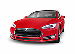 Red 2014 Tesla Model S luxury electric car premium sedan isolated on white background with clipping path