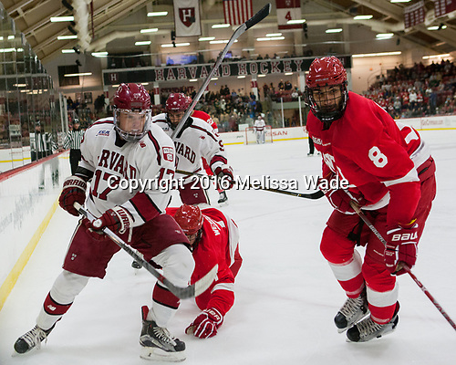 Sean Malone (Harvard - 17), Jake Weidner (Cornell - 7), Luke Esposito (Harvard - 9), Yanni Kaldis (Cornell - 8) - The Harvard University Crimson defeated the visiting Cornell University Big Red on Saturday, November 5, 2016, at the Bright-Landry Hockey Center in Boston, Massachusetts.