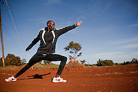 Gilbert Koech, an aspiring marathon runner, cools down after a run in Iten, Kenya..Iten is a favorite training ground  for runners because of its high altitude and reputation for  world champion runners..