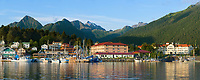 Commercial fishing vessels in Sitka Channel, Pioneer home and harbor view of the coastal town of Sitka, Alaska