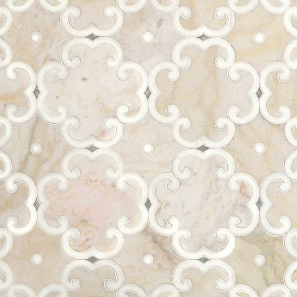 Hercule, a waterjet stone mosaic, shown in honed Cloud Nine, Thassos and Ming Green, was designed by Sara Baldwin for New Ravenna.