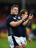 Jon Welsh acknowledges the crowd after the match. Rugby World Cup Pool B match between Scotland and Japan on September 23, 2015 at Kingsholm Stadium in Gloucester, England. Photo by: Patrick Khachfe / Onside Images