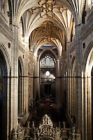 High angle view, interior, New Cathedral, Salamanca, Spain, pictured on December 19, 2010. Salamanca, Spain's most important University city,  has two adjoining Cathedrals, Old and New. The old Romanesque Cathedral was begun in the 12th century, and the new in the 16th century. Its style was designed to be Gothic rather than Renaissance in keeping with its older neighbour, but building continued over several centuries and a Baroque cupola was added in the 18th century. Restoration was necessary after the great Lisbon earthquake, 1755. Picture by Manuel Cohen