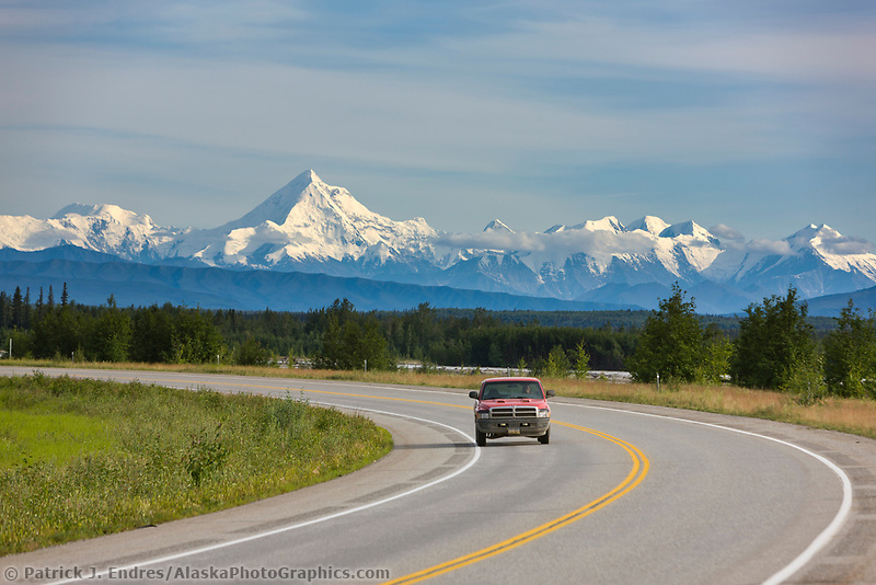 Richardson Highway,  against the backdrop of the Alaska range, just south of Fairbanks, interior, Alaska.