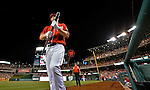 19 May 2012: Washington Nationals outfielder Bryce Harper steps on deck during a game against the Baltimore Orioles at Nationals Park in Washington, DC. The Orioles defeated the Nationals 6-5 in the second game of their 3-game series. Mandatory Credit: Ed Wolfstein Photo