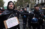 Protest against the payment of the debt and austerity mesures in Paris.