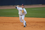 Ole Miss' Preston Overbey(1) throws to first for an out at Oxford University Stadium in Oxford, Miss. on Tuesday, February 22, 2011. Ole Miss won 4-2 to improve to 4-0 on the year.