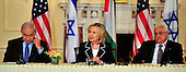 "United States Secretary of State Hillary Rodham Clinton makes closing remarks at the press event ""Relaunch of Direct Negotiations Between the Israelis and Palestinians"" in the Benjamin Franklin Room of the U.S. Department of State on Thursday, September 2, 2010.  From left to right: Prime Minister Benjamin Netanyahu of Israel, United States Secretary of State Hillary Rodham Clinton, and President Mahmoud Abbas of the Palestinian Authority..Credit: Ron Sachs / CNP.(RESTRICTION: NO New York or New Jersey Newspapers or newspapers within a 75 mile radius of New York City)"
