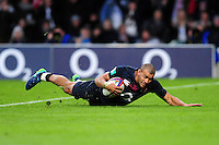Jonathan Joseph of England scores his second try of the match. Old Mutual Wealth Series International match between England and Fiji on November 19, 2016 at Twickenham Stadium in London, England. Photo by: Patrick Khachfe / Onside Images
