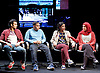 Another World <br /> Losing Our Children To Islamic State <br /> directed by Nicholas Kent <br /> at Temporary Theatre, National Theatre, Southbank, London, Great Britain<br /> Press photocall <br /> 14th April 2016 <br /> <br /> <br /> <br /> Zara Azam / Lara Sawalha / Ronak Patani / Fashid Rokey <br /> as students <br /> <br /> <br /> Photograph by Elliott Franks <br /> Image licensed to Elliott Franks Photography Services