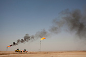 ERBIL, IRAQ: Gas flares at Kar Group's Khormala Dome oil field.