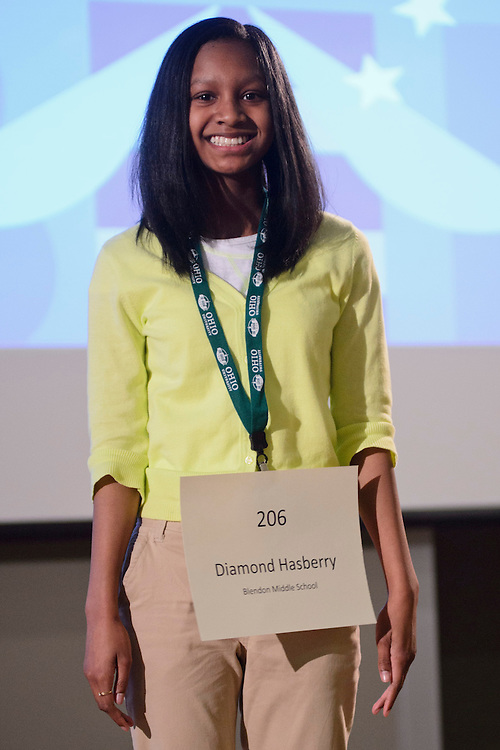 Diamond Hasberry of Blendon Middle School introduces herself during the Columbus Metro Regional Spelling Bee Regional Saturday, March 16, 2013. The Regional Spelling Bee was sponsored by Ohio University's Scripps College of Communication and held in Margaret M. Walter Hall on OU's main campus.