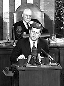 United States President John F. Kennedy outlined his vision for manned exploration of space to a Joint Session of the United States Congress, in Washington, DC on May 25, 1961 when he declared, &quot;...I believe this nation should commit itself to achieving the goal, before this decade is out, of landing a man on the Moon and returning him safely to the Earth.&quot; This goal was achieved when astronaut Neil A. Armstrong became the first human to set foot upon the Moon at 10:56 p.m. EDT, July 20, 1969.  Shown in the background is Speaker of the House Sam T. Rayburn (Democrat of Texas). <br /> Credit: Arnie Sachs / CNP