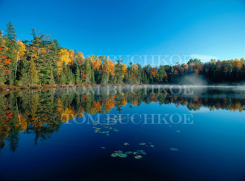 Murphy's Pond in Marquette county Michigan, in fall color with morning fog.