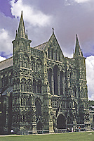 Salisbury: Salisbury Cathedral, West Front, 3/4 elevation. Photo '90.