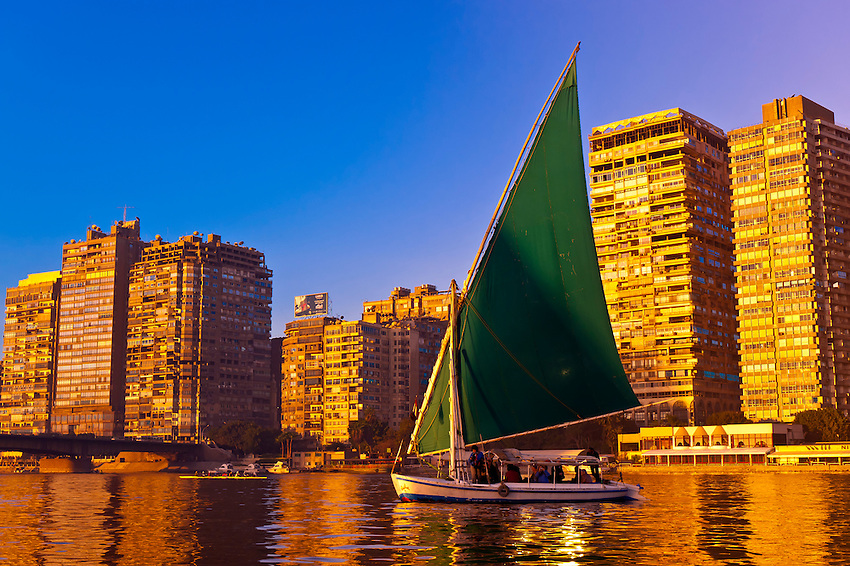 Feluccas sailing along the Nile River at sunrise, Cairo, Egypt
