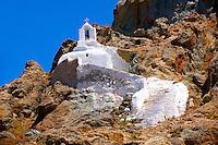 Hill top Orthodox cave church above Naxos Thira, Naxos Island, Greek Cyclades Islands
