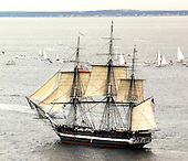 Boston, MA - July 21, 1997 -- The USS Constitution, the worlds oldest commissioned war ship, underway in Massachusetts Bay, MA.  Commissioned on October 21, 1797, Constitution set sail unassisted for the first time in 116 years.   Constitution will celebrates her 200th birthday on October 21st of this year after completing a 40 month overhaul.  .Credit: Todd Stevens - U.S. Navy via CNP