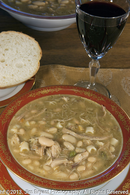 Tuscan White bean Soup with stewed chicken. ©2013. Jim Bryant Photo. All Rights Reserved.