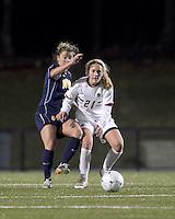"West Virginia midfielder Bri Rodriguez (4) and Boston College midfielder Kate McCarthy (21) battle for the ball. Boston College defeated West Virginia, 4-0, in NCAA tournament ""Sweet 16"" match at Newton Soccer Field, Newton, MA."